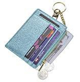 Offer for Womens Slim RFID Credit Card Holder Mini Front Pocket Wallet Coin Purse Keychain (StarTeal)