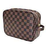 Offer for Makeup Bag, Toiletry Travel Make up Bags PU Leather Checkered Pattern Portable Cosmetic Organizer Bag for Women and Men