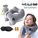Offer for GXFCWSRY Inflatable Travel Neck Pillow,Comfortable Soft Velvet Bone Shape Pillows Head and Back Support for Airplanes,Trains,Buses Washable Cover with Portable Carrying Bag&Eye Mask (Grey)