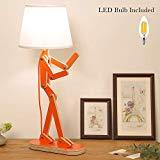 Offer for HROOME Novelty Cool Tall Desk Lamp with Swing Arm, Modern Wood Adjustable Kids Table Lamp Bedside Light for Reading/Bedrooms/Living Room/Office/Girls/Boys - Oran Orange, Bulb Included