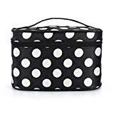 Offer for Portable Cosmetic Bag Multifunction Makeup Pouch Waterproof Travel Large Space Nylon Bag for Women Girls (Black and white dots)