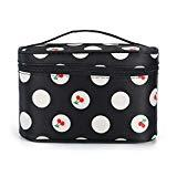 Offer for Portable Cosmetic Bag Multifunction Makeup Pouch Waterproof Travel Large Space Nylon Bag for Women Girls (Black and white cherry wave)