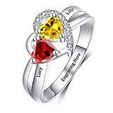 Offer for Dreamdecor Sterling Silver Personalized Promise Ring with 2 Birthstones Engraved Custom Heart Ring Engagement Ring for Women