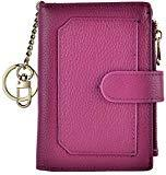 Offer for Womens Wallets RFID Small Compact Bifold Leather Card Holder Zip Pocket Keychain (Dark Purple)