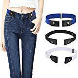 Offer for GUCHOL No Buckle Elastic Belt for Women and Men with Jean Pants/Dresses Adjustable Women's Belts up to 59 Inches (Blue, Waistline Size:21