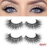 Offer for BLEAKTEIR 4 Pairs False Eyelashes Synthetic Fiber Material Mink Lashes Natural Round Look Reusable 100% Handmade Cruelty-Free (extend1.2cm)