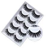 Offer for 3D Mink False Eyelashes, Reusable False Eyelashes, Hand Made 3D False Eyelashes, Suitable for Wedding Parties and Daily Makeup (5 Pairs)