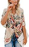 Offer for NUOREEL Women's Casual Floral Print Shirts Short Sleeve V Neck Twist Tops and Blouse (Medium, Apricot)