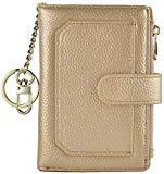 Offer for Womens Wallets RFID Small Compact Bifold Leather Card Holder Zip Pocket Keychain (Gold)
