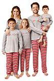 Offer for QUNISY Matching Family Christmas Pajamas Set Holiday Sleepwear Xmas PJS Couples Kids Red Striped Men-S