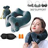 Offer for GXFCWSRY Inflatable Travel Neck Pillow,Comfortable Soft Velvet Bone Shape Pillows Head and Back Support for Airplanes,Trains,Buses Washable Cover with Portable Carrying Bag&Eye Mask (Grey-Green)