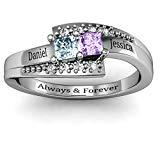 Offer for DesignForYou Personalized Mothers Ring with 2 Birthstones Engraved Names Promise Rings Custom Jewelry for Her