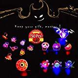 Offer for JX 50 Pack LED Jelly Light Up Rings Toys Halloween Toys Birthday Party Favors for Kids Blinky Glow in The Dark Party