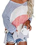 Offer for ETCYY NEW Womens Oversized Pullover Sweater Colorblock Rainbow Striped Casual Long Sleeve Loose Knitted Shirts Tops (White, Small)