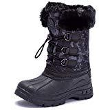 Offer for UBFEN Boys Girls Snow Boots Kids Winter Warm Outdoor Slip Resistant Cold Weather High Top Shoes Dark Grey