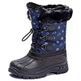 Offer for UBFEN Boys Girls Snow Boots Kids Winter Warm Outdoor Slip Resistant Cold Weather High Top Shoes Blue