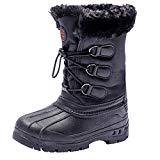Offer for UBFEN Boys Girls Snow Boots Kids Winter Warm Outdoor Slip Resistant Cold Weather High Top Shoes Black