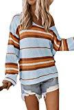 Offer for ETCYY NEW Womens Oversized Pullover Sweater Colorblock Rainbow Striped Casual Long Sleeve Loose Knitted Shirts Tops (Light Blue, X-Large)