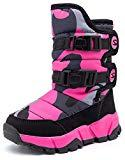 Offer for KIIU Kids Snow Boots Toddler Slip Resistant Winter Boots for Girls Outdoor(Black/Rose, 11 Little Kid)