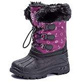 Offer for UBFEN Boys Girls Snow Boots Kids Winter Warm Outdoor Slip Resistant Cold Weather High Top Shoes Purple
