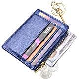 Offer for Womens Slim RFID Credit Card Holder Mini Front Pocket Wallet Coin Purse Keychain (Star Blue)