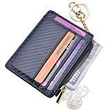 Offer for Womens Slim RFID Credit Card Holder Mini Front Pocket Wallet Coin Purse Keychain (Carbon Darkblue)