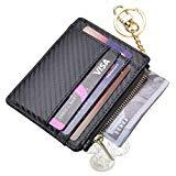 Offer for Womens Slim RFID Credit Card Holder Mini Front Pocket Wallet Coin Purse Keychain (Carbon Black)