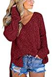Offer for GAMISOTE Women's Long Sleeve Solid Color V Neck Loose Oversized Fuzzy Knitted Popcorn Sweater Tops Burgundy