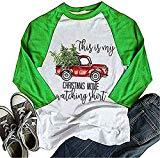 Offer for Women Christmas T-Shirt This is My Christmas Movie Watching Shirt 3/4 Sleeve Raglan Tops (L,Green)