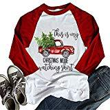 Offer for Women Christmas T-Shirt This is My Christmas Movie Watching Shirt 3/4 Long Sleeve Raglan Tops (M,Red)