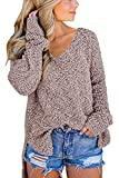 Offer for GAMISOTE Women's Fuzzy Knitted Sweater Sherpa Fleece Long Sleeve Pullover Side Slit Jumper Outwears Khaki
