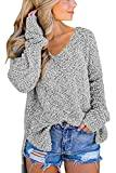 Offer for GAMISOTE Women's Pullover V-Neck Sweater Fuzzy Sherpa Fleece High Low Tunic Outwears Grey