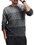 Offer for Makkrom Mens Knit Pullover Sweater Ombre Color Block Long Sleeve Crew Neck Casual Cotton Winter Knitted Sweaters Grey