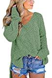 Offer for GAMISOTE Womens Fuzzy Sweaters Vneck Side Split High Low Hem Pullover Knitted Jumper Green