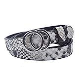 Offer for Earnda Women's Skinny Snakeskin Belts PU Leather Silver Double Buckle For Jeans Dress M