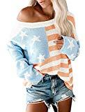 Offer for ETCYY NEW Womens Oversized Pullover Sweater Colorblock Rainbow Striped Casual Long Sleeve Loose Knitted Shirts Tops (Flag, Medium)