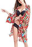 Offer for BUENOS NINOS Women's Short Sleeve Loose Tops Floral Print Kimono Cardigan Cape Beach Bikini Cover Up One Size Red