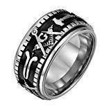 Offer for UNAPHYO Men's Silver Masonic Spinner Ring Stainless Steel Freemason Symbol Rings for Men Jewelry Band 10mm Wide Size 9