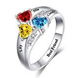 Offer for Jecivila Personalized Sterling Silver Mothers Rings Customized Name Ring with 3 Simulated Birthstones Custom Engraved Family Name Rings for Mom