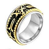 Offer for UNAPHYO Men's Masonic Spinner Ring Stainless Steel Freemason Symbol Rings for Men Jewelry Band 10mm Wide Gold and Silver Size 11