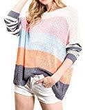 Offer for ETCYY NEW Womens Oversized Pullover Sweater Colorblock Rainbow Striped Casual Long Sleeve Loose Knitted Shirts Tops (Orange, Large)