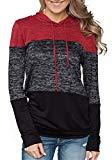 Offer for Mystry Zone Long Sleeve Sweater for Women Red Color Block Knitted Hoodies XXL