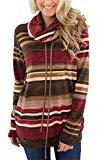 Offer for Mystry Zone Pullover Sweaters for Women Red Color Block Cowl Neck Drawstring XL