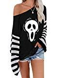 Offer for ETCYY NEW Womens Oversized Pullover Sweater Colorblock Rainbow Striped Casual Long Sleeve Loose Knitted Shirts Tops (Skull, Large)