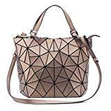 Offer for Geometric Luminous Purses and Handbags Holographic Flash Reflective Leather Rainbow Tote Glod