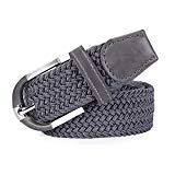 Offer for Mens Woven Stretch Braided Belt, Canvas Woven Elastic Fabric Casual Belt with Gift Box,gray,M