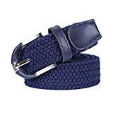 Offer for Braided Canvas Woven Elastic Stretch Belts for Men/Women in Gift Box,blue,L