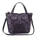 Offer for Geometric Luminous Purses and Handbags Holographic Flash Reflective Leather Rainbow Tote Black