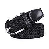 Offer for Woven Stretch Braided Belt, Golf Canvas Elastic Fabric Belts Casual Men/Women with Gift Box,black,S