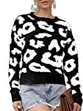 Offer for GAMISOTE Womens Leopard Crop Sweaters Fall Long Sleeve Loose Fitting Pullover Jumper Black